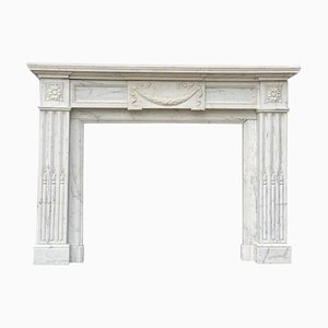 Louis XVI Style White Carrara Marble Fireplace