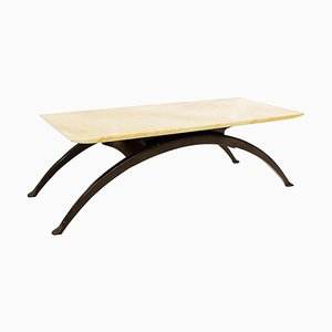 Coffee Table with Arched Legs and Marble-Top