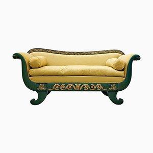 Divano Charles X verde e legno dorato laccato, Francia