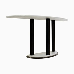 Half-Moon Marble Console Table in Ettore Sottsass Style