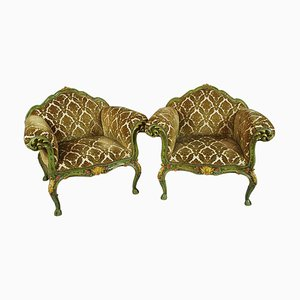 Venetian Painted and Carved Wooden Armchairs, 1900s, Set of 2