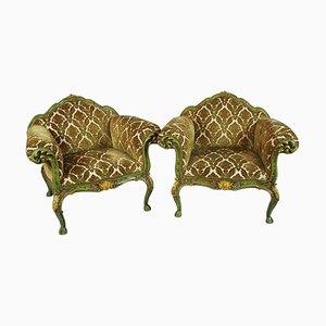 Venezianische Lackierte und Geschnitzte Holzstühle, 1900er, 2er Set