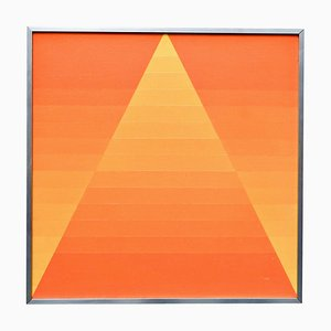 Georges Vaxelaire, Geometric Composition, Belgium, 1973, Orange Oil on Canvas