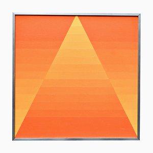 Georges Vaxelaire, Geometrische Komposition, Belgien, 1973, Orangenfarbenes Öl auf Leinwand