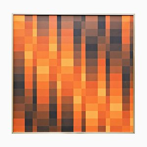 Georges Vaxelaire, Oil on Canvas, Geometric Composition to Brown Tones, 1975