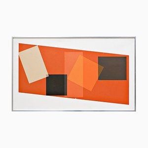 Georges Vaxelaire, Geometric Composition, Belgium, 1974, Oil on Canvas
