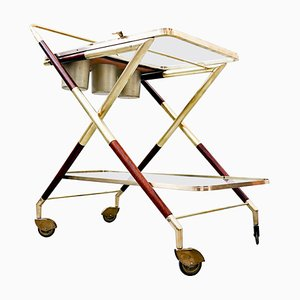 Italian Glass and Brass Trolley by Cesare Lacca, 1950s