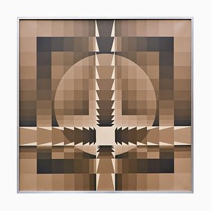Georges Vaxelaire, Geometric Composition, Belgium, 1977, Oil on Canvas