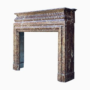Louis XVI Style Fireplace in Brown Marble