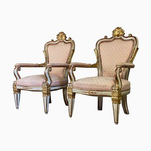 Italian Armchairs in Sculpted Giltwood, Set of 2