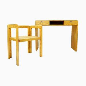 Cane Desk and Armchair by Derk Jan De Vries, Set of 2