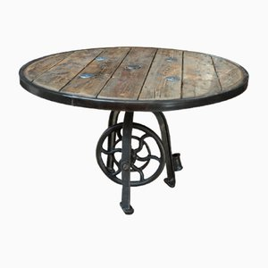 Antique Industrial Metal Machine Stand with Flywheel and Fir & Metal Top, 1920s