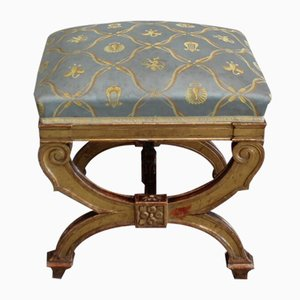 Small Square Giltwood Stool, Late 19th Century
