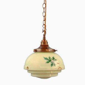 Art Deco Pistachio Green Glass Pendant Lamp