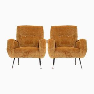 Beige Velvet Armchairs by Gigi Radice for Minotti, 1960s, Set of 2