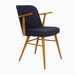 Scandinavian Stainless & Midnight Blue Fabric Chair with Armrests