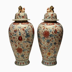 Big Antique Japanese Ceramic Imari Floor Vases, Set of 2