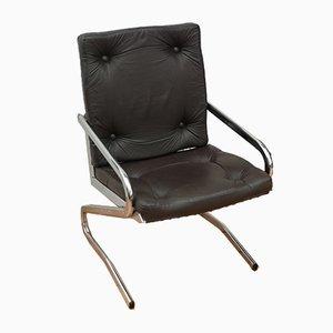 Stuhl aus Leder & Chrom, Italien