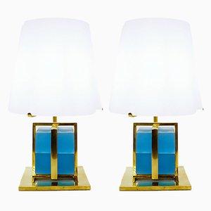 Lampade da tavolo in ottone e vetro con paralume in vetro opalino, set di 2