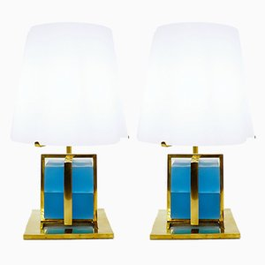 Lampes de Bureau en Laiton et Verre avec Abat-jour en Verre Opalin, Set de 2