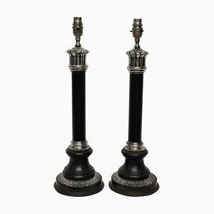 Mid-Century Bronze und Versilberte Säulen Tischlampen, 2er Set