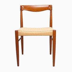 Danish Teak and Paper Cord Dining Chairs by H. W. Klein for Bramin, 1960s, Set of 4