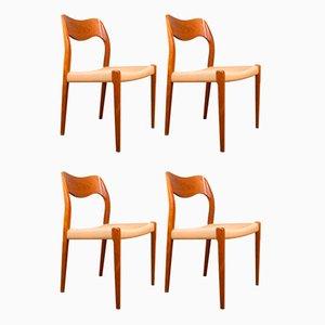 Dänische Modell 71 Stühle aus Teak & Seil von Niels Otto Møller für JL Møllers, 4er Set