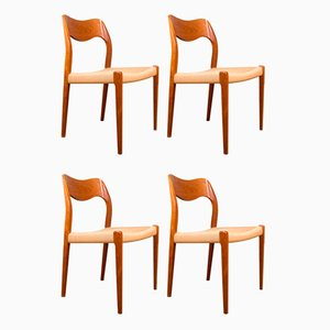 Danish Model 71 Chairs in Teak and Rope by Niels Otto Møller for J. L. Møllers, Set of 4