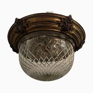 Vintage Deckenfluter aus Kristallglas