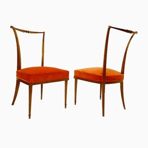 Orange Samt Esszimmerstühle von André Arbus, France, 1940er, 2er Set