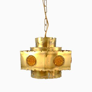 Brutalist Brass Pendant Lamp by Svend-Aage Holm-Sörensen for Thea Metal, Denmark, 1960s or 1970s