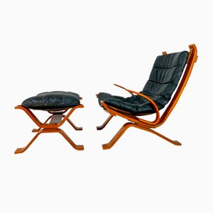 Danish Leather Lounge Chair & Ottoman by Bramin, 1960s