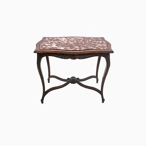 Antique Rococo Style Table with Stone Top, 1900s
