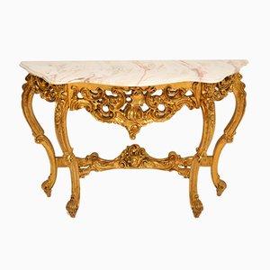 Antiker Konsolentisch aus vergoldetem Holz im französischen Stil