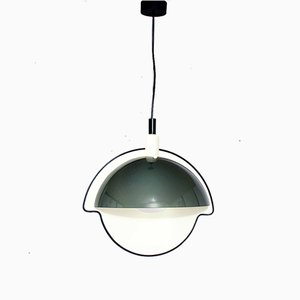 Space Age Glass and Metal Ceiling Lamp, Italy