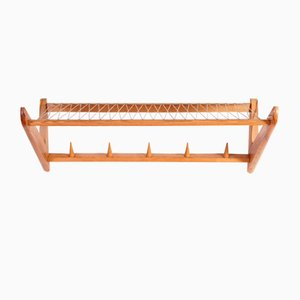 Mid-Century Ash and String Wall Rack from Ldmu, 1969
