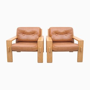 Bonanza Armchairs in Leather by Esko Pajamies for ASKO Finland, Set of 2