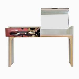 White Plywood & Silver Abs Plastic Dressing Table by Raymond Loewy