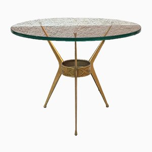 Mid-Century Italian Tripod Brass Coffee Table with Green Glass Top by Cesare Lacca, 1950s