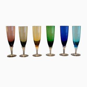 Gläser aus buntem Murano Glas, Italien, 1950er, 6er Set