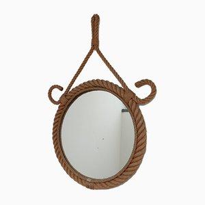 Französischer Mid-Century Seil Spiegel von Audoux & Minet