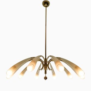 10-Light Chandelier in the Style of Max Ingrand from Lumen Milano, Early 1950s