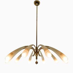 Lustre à 10 Lampes Style Max Ingrand de Lumen Milano, Début des années 1950