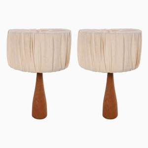 Danish Teak Table Lamps with Fabric Shade, Set of 2
