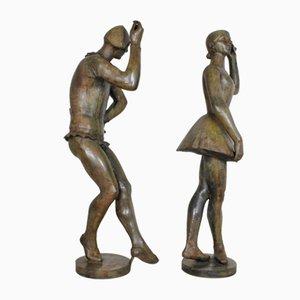 Han Wezelaar & Valsuani, Arlequin et la Ballerine, Signed Bronze Sculptures, 20th Century, Set of 2