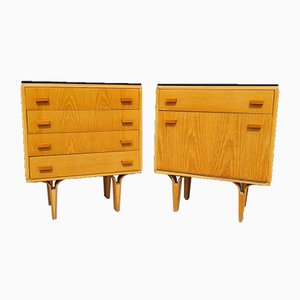 Mid-Century Czech Nightstand & Chest of Drawers by Frantisek Mezulanik for Novy Domov Np, 1970s, Set of 2