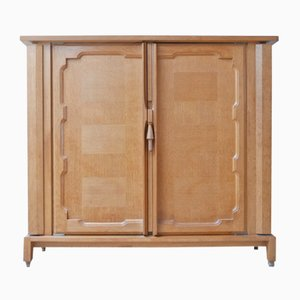 Mid-Century French Oak Bouvine Cabinet by Guillerme et Chambron
