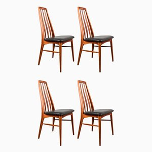Danish Eva Chairs in Brazilian Rosewood and Leather by Niels Koefoed for Koefoeds Møbelfabrik, 1960s, Set of 4