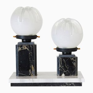 Tischlampe aus Marmor und Murano Glas, 1970er