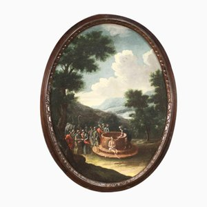 Peinture Oval Antique de Joseph au Puits, 18ème Siècle